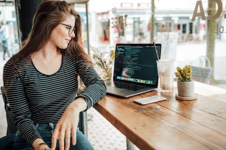 Woman Laptop Coffee Pic
