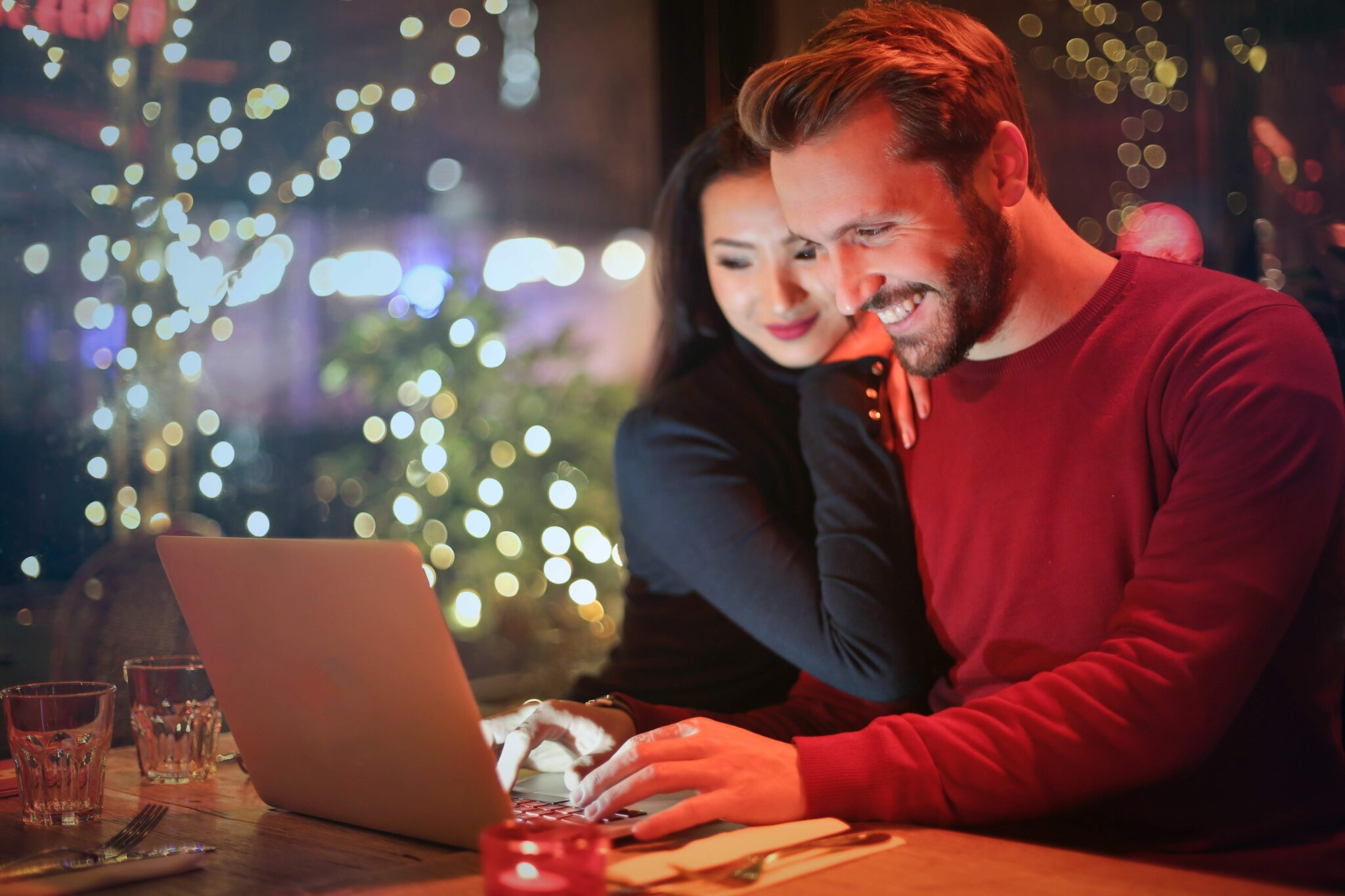 Couple Looking At Screen
