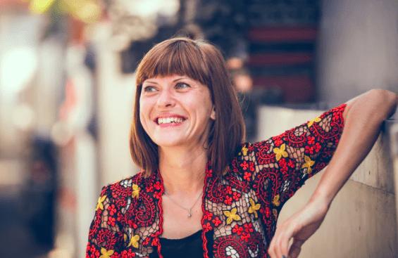 Smiling Woman Cash Decreasing